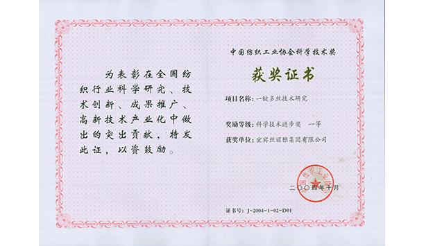 中国纺织工业协会科学技术进步一等奖